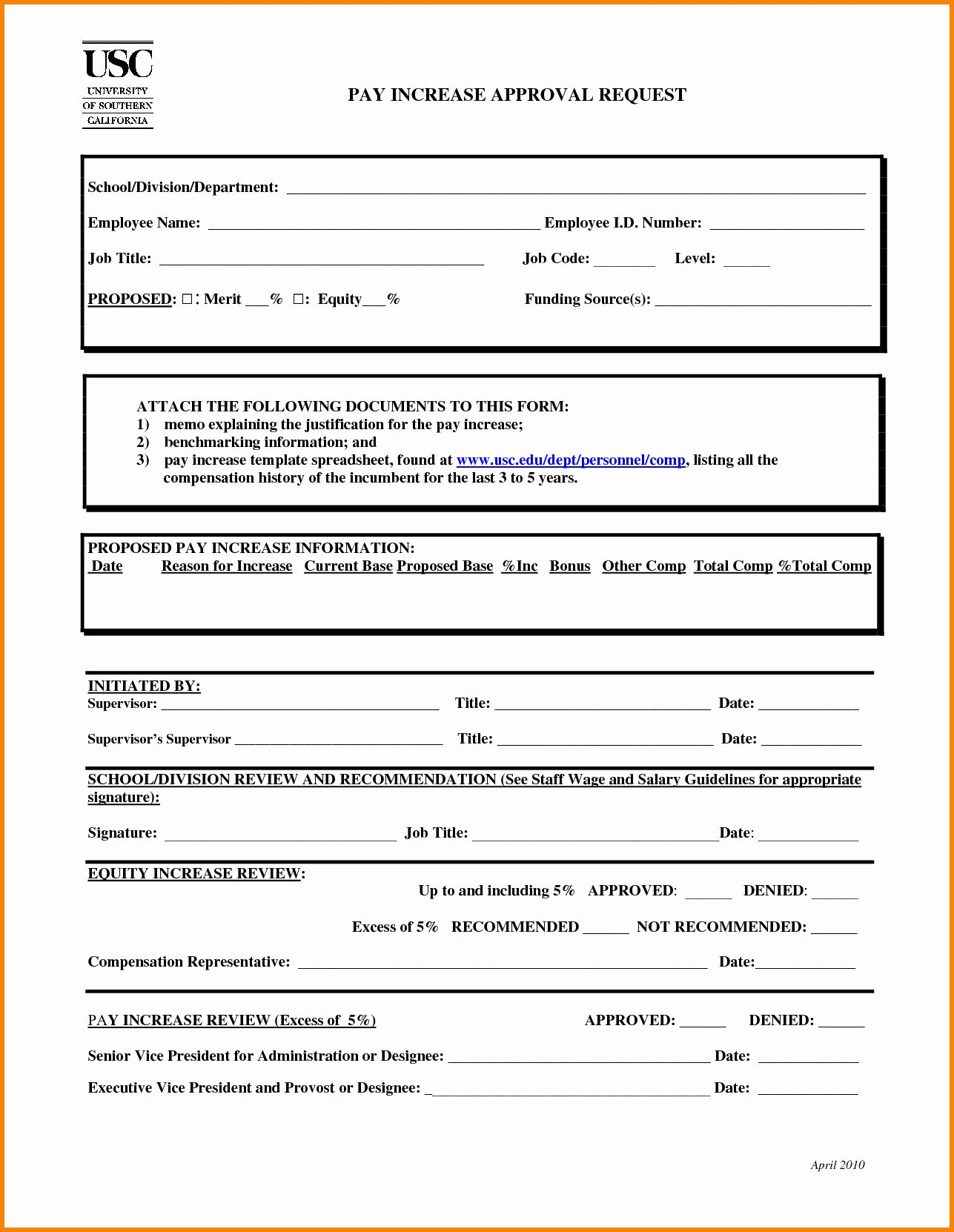 Wage Increase form Unique 6 Salary Re Mendation form in