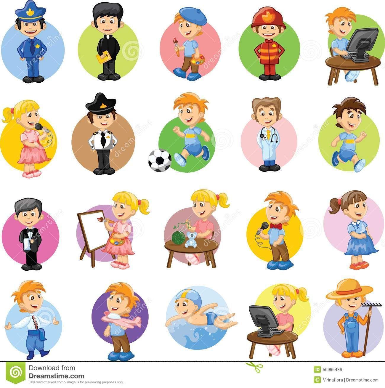D Line Drawings Jobs : Personajes de dibujos animados diversas profesiones