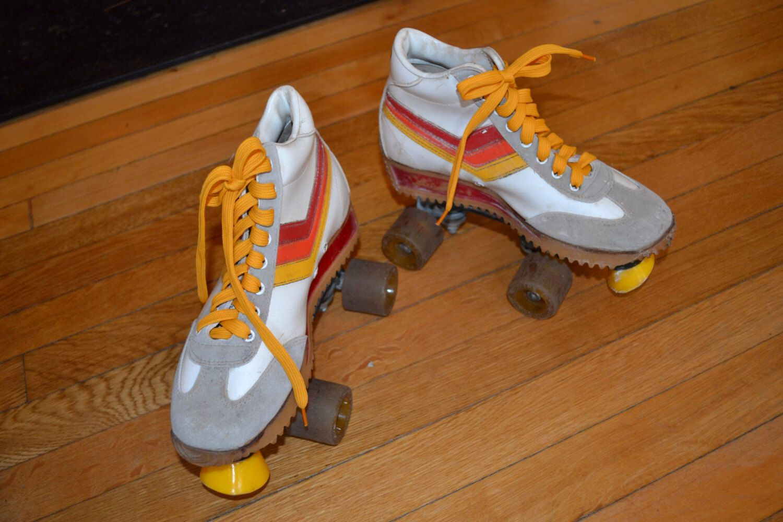 Roller skates for free - Vintage 1970 S Roller Skates California Free Former Roller Skates Jogging Sneakers White Chevron Men S Size 5 Women S 6 5 Va137