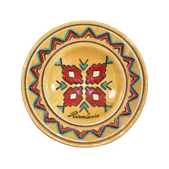 Romania Folk Art Little Wooden Plate - Wall Hanging Accent, Hand ...