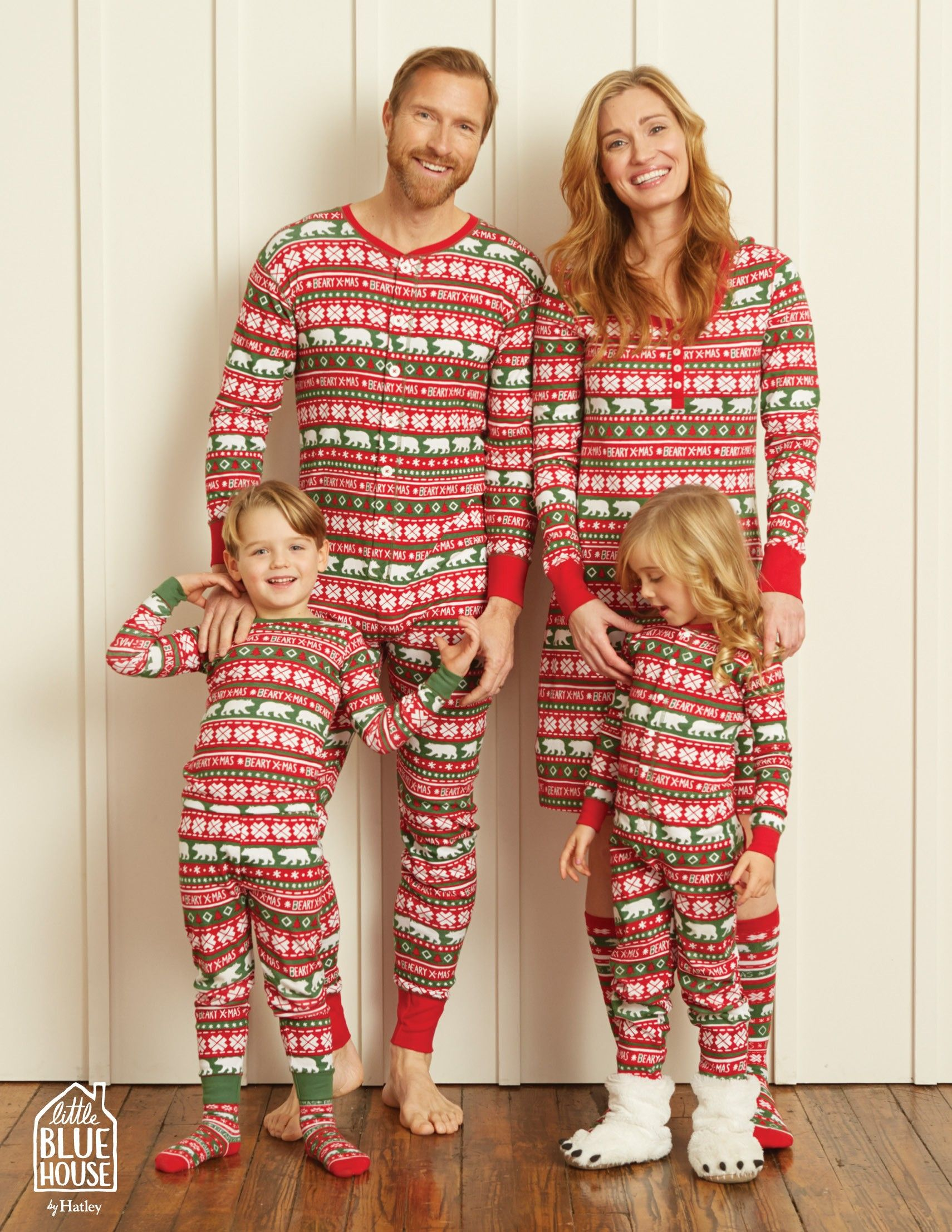 Beary XMas Adult Union Suit Family Little Blue House