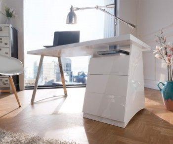 Schreibtisch Baika 150x70 Cm Weiss Hochglanz Edelstahl Bild 1