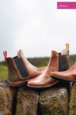 e31513440 Joules Westbourne Brown Leopard Detail Leather Chelsea Boot | Style ...
