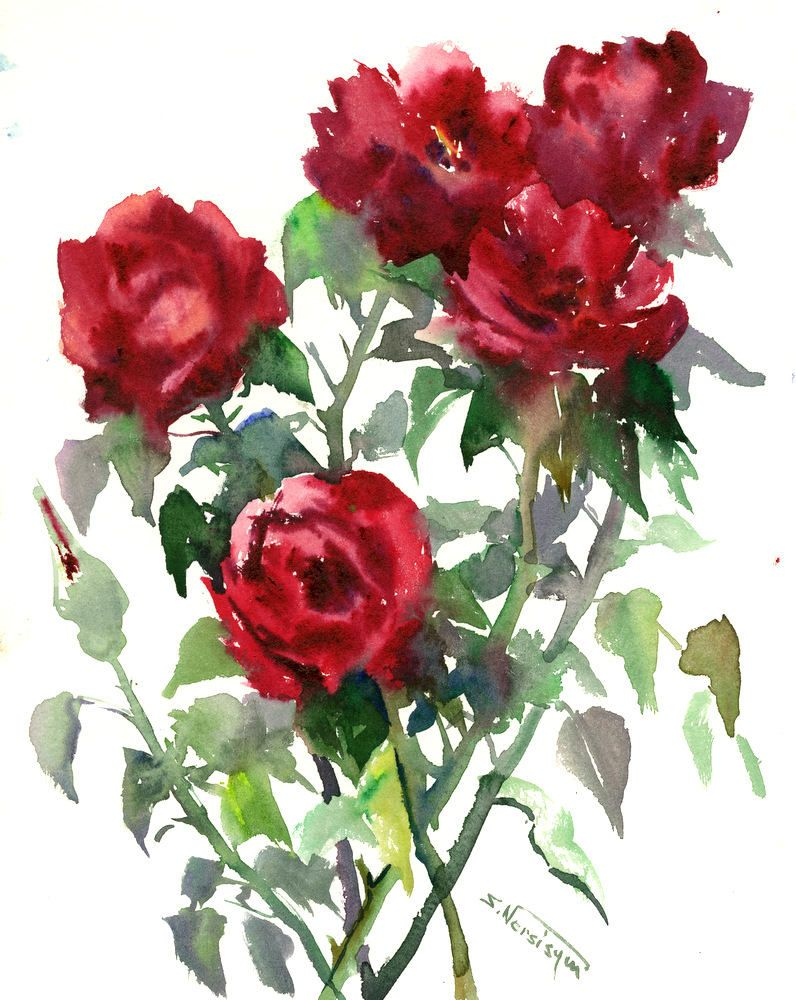 Dark Red Roses Deep Red Red Wall Art Original Watercolor