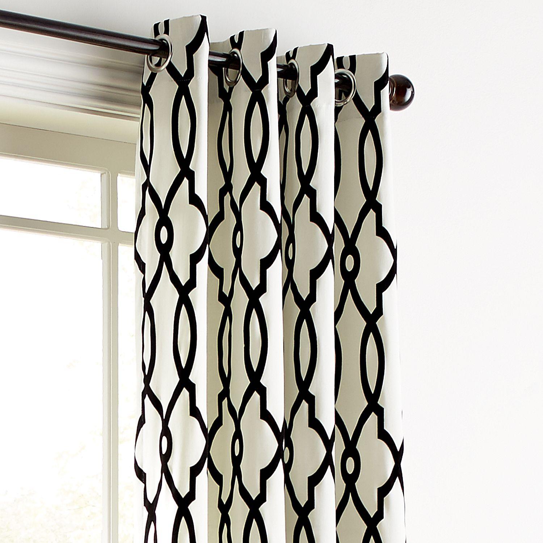Flocked Trellis Black Amp White 84 Grommet Curtain