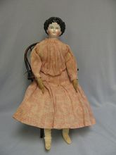 "20"" Early CHINA Head doll c1870 elaborate Curls on forehead, Original Cloth Body"