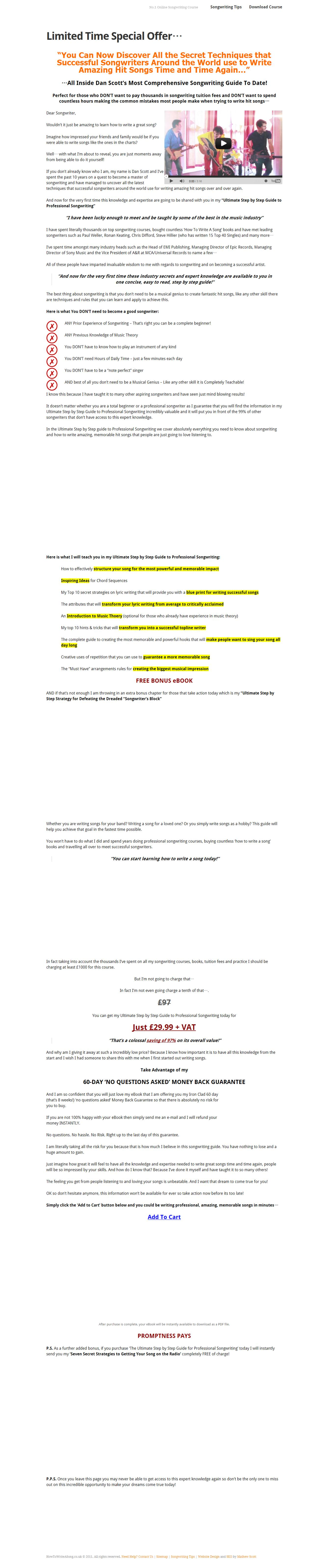 Ultimate Step By Step Guide To Professional Songwriting Review  Get Full Review : http://scamereviews.typepad.com/blog/2013/01/ultimate-step-by-step-guide-to-professional-songwriting-get-for-free.html
