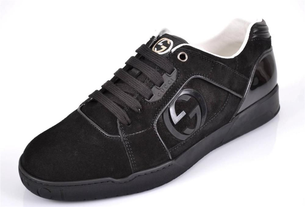 bd856a6c473 NEW GUCCI MEN S 309457 BLACK SUEDE INTERLOCKING GG LOGO SNEAKERS SHOES 14 G   Gucci  AthleticSneakers