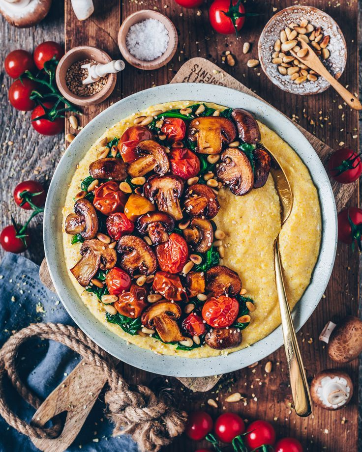 Photo of Creamy Vegan Polenta with Mushrooms and Spinach – Bianca Zapatka | Recipes