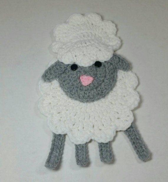 485d0b7ea5f6dd Lamb Applique   Crochet Lamb Applique   Premade Lamb Applique   Ready To  Use Lamb Applique   Lamb Patch   Lamb Embellishment   Baby Lamb