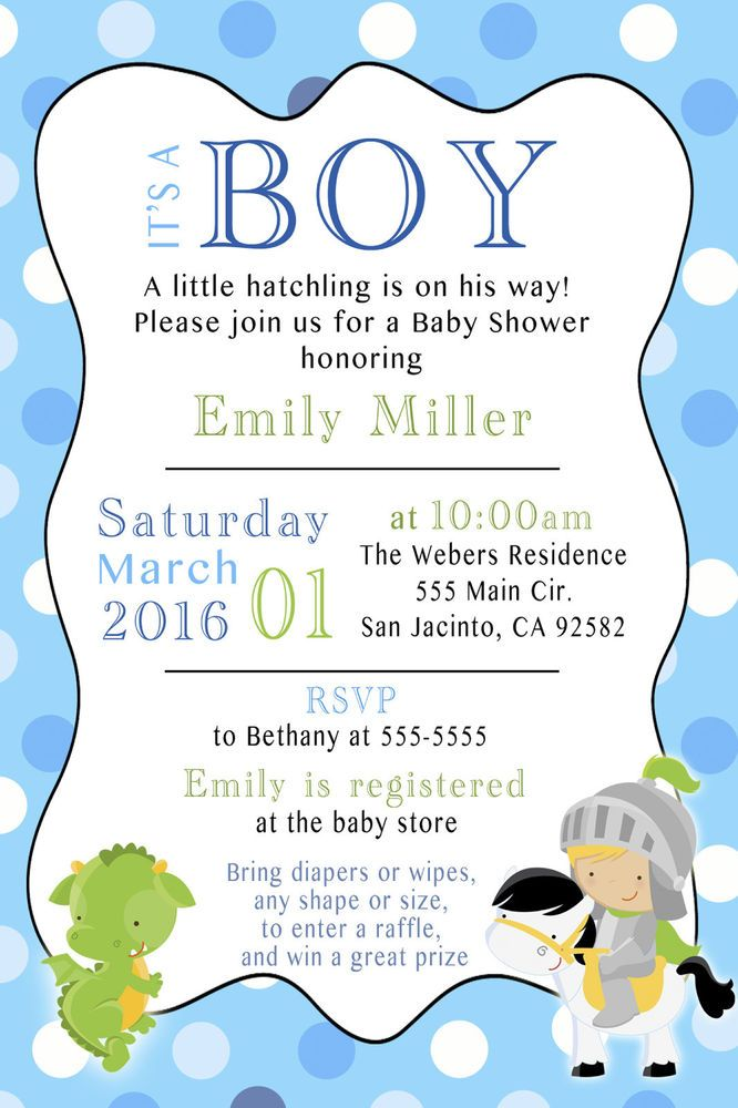 30 Dragon Knight Baby Shower Invitation Card Boy Modern Party – Baby Shower Invitation Cards for Boys