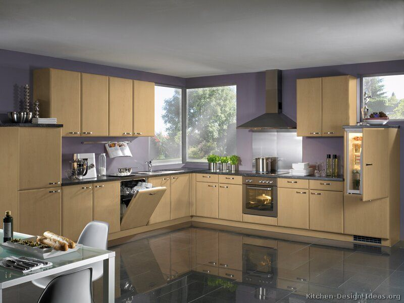 Kitchens With Wood Floors Kitchen Cabinets Modern Light Wood A A Tile Floor Purple Painted Kitchen Cabinets