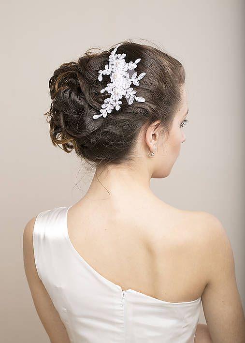 svadobný čipkový hrebienok do vlasov