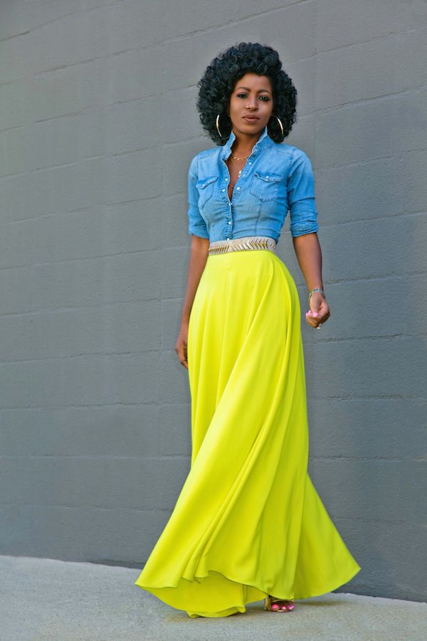 Fitted Denim Shirt + Neon Maxi Skirt (Style Pantry) in 2018 | neon ...