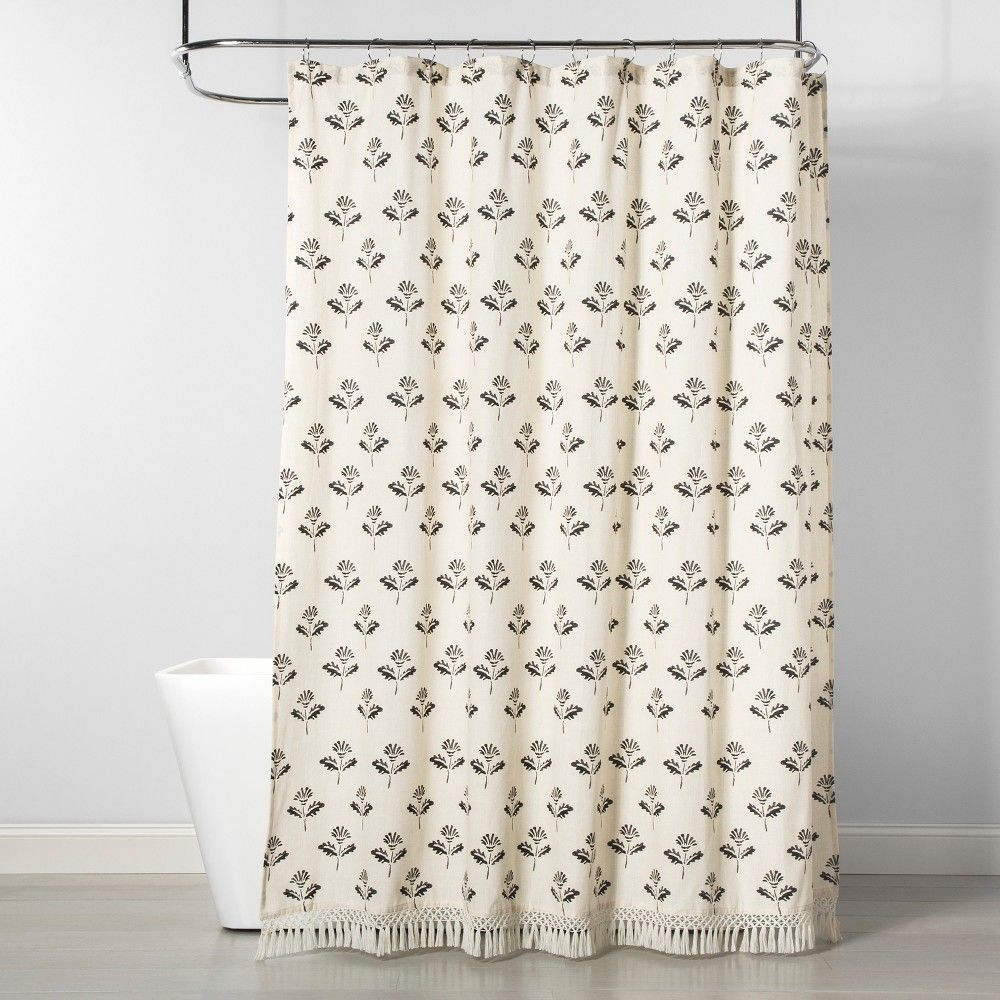 Printed Floral Shower Curtain Neutral Threshold Floral Shower