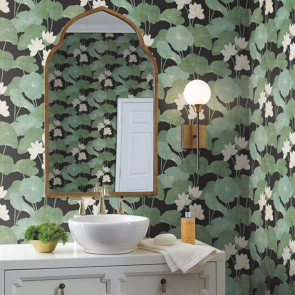 Roommates Lily Pad Peel Stick Wallpaper Bed Bath Beyond Bathroom Wallpaper Peel And Stick Wallpaper Room Visualizer