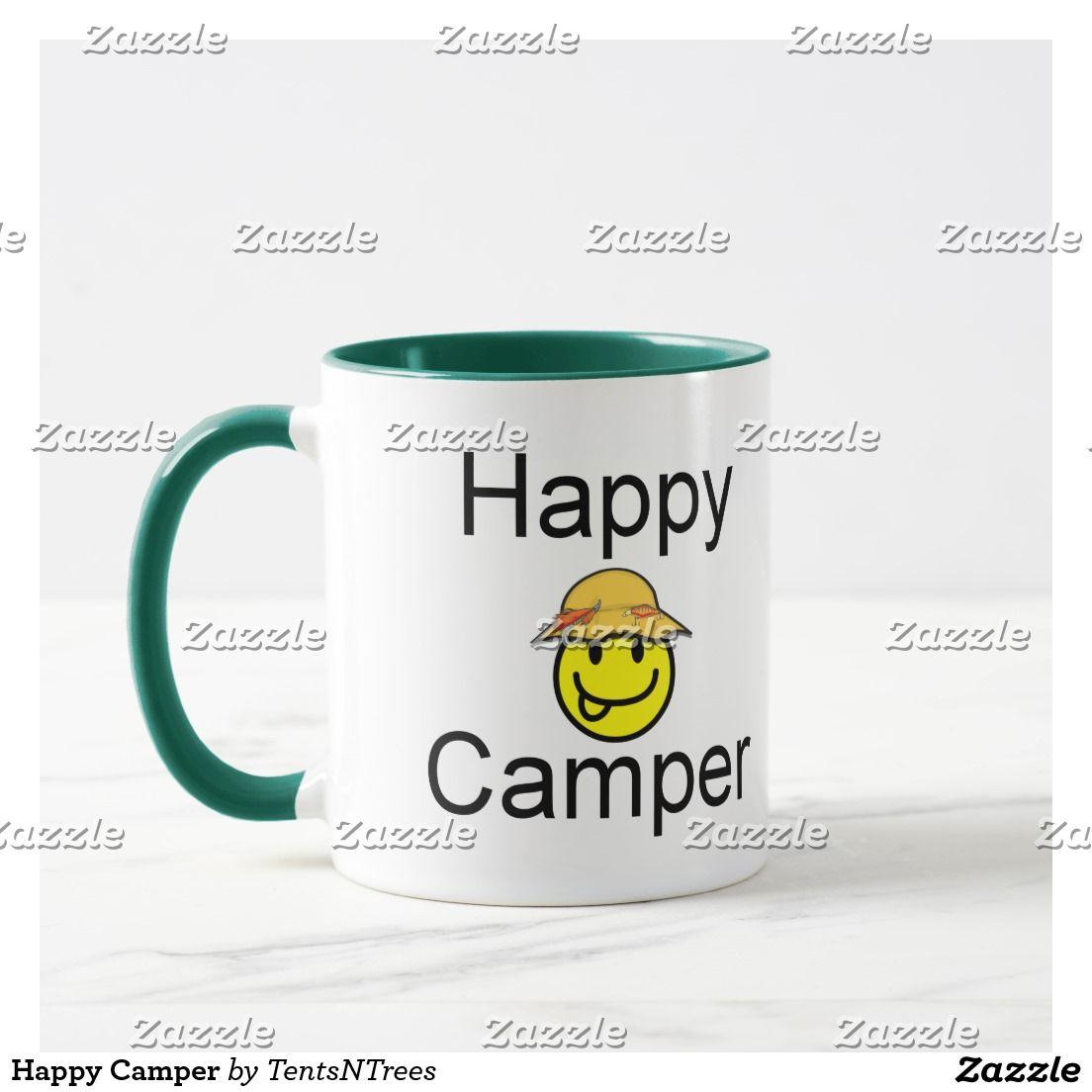 Happy Camper Coffee Mug on Zazzle @zazzle #zazzle #coffee #mug #travel #fish #fishing #camping #outdoors #nature #sport #funny #humor #drink #beverage #morning #joe #gift #idea #men #women