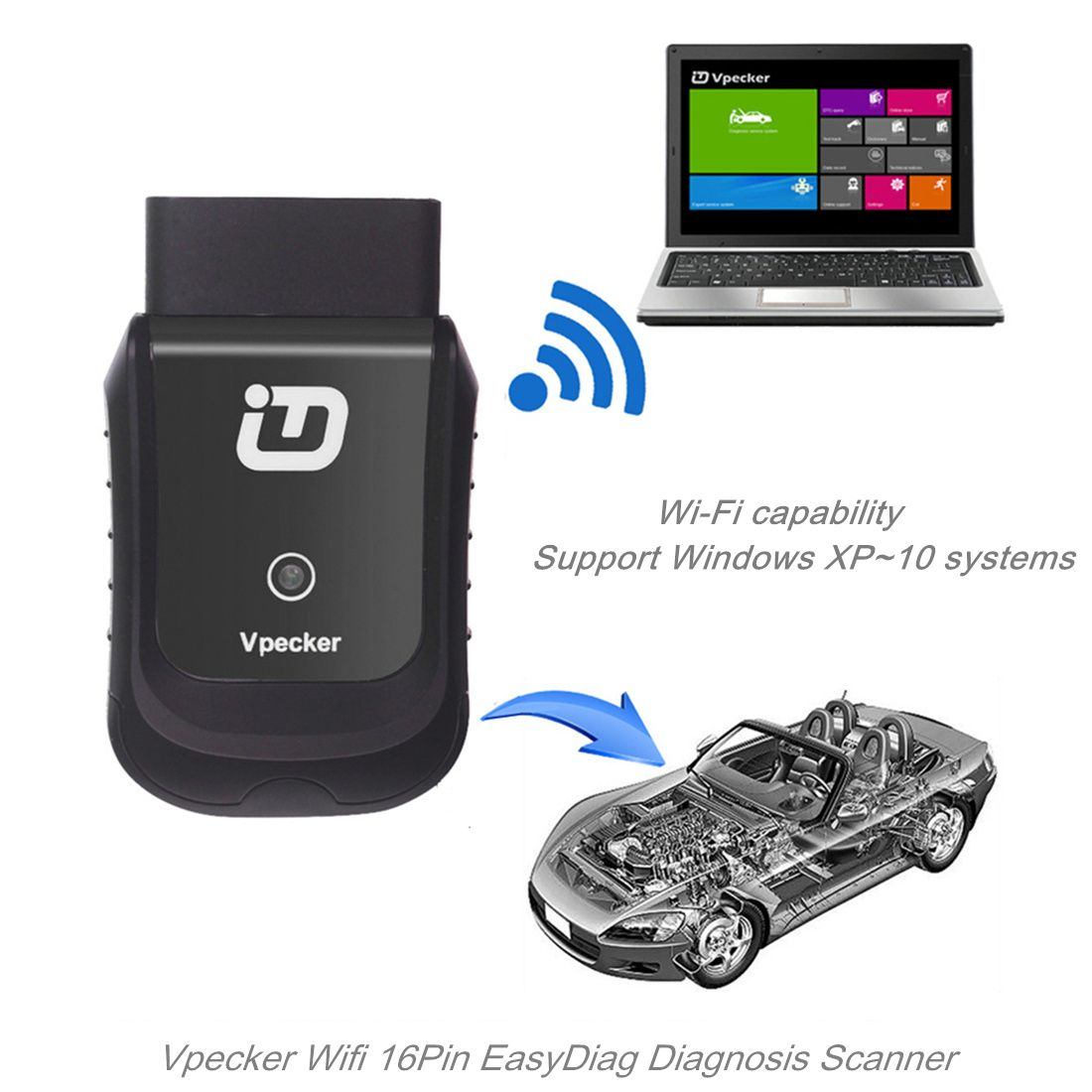 Tdintel Vpecker EasyDiag 16Pin Wifi Diagnostic Tool For Jeep/Gmc/Cherysler/Buick/BMW/Ford/Kia Support Engine/ Airbag/ ABS Function (Black,Support Windows System Only)