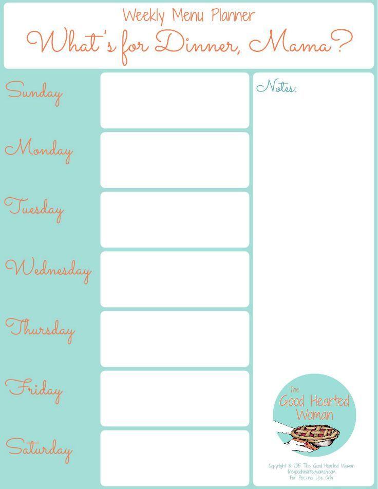 Printable Weekly Menu Planner Weekly Menu Planners Menu Planner Printable Weekly Menu
