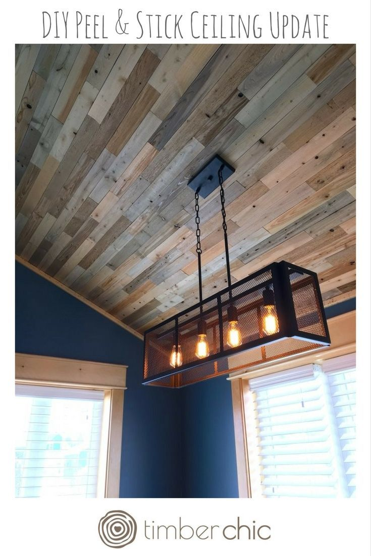 Timberchic Diy Ceiling Statement Simply Peel Stick Timberchic Planks To Your Ceiling For An Instant Work Of Wood Plank Ceiling Diy Ceiling Vinyl Wood Planks