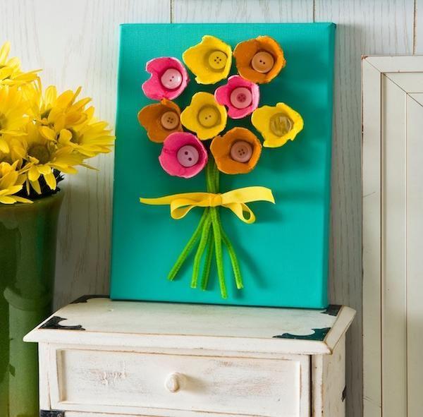 ostern bastelideen kinder karton blumen deko wand  Ideen  Egg carton art Crafts for kids und