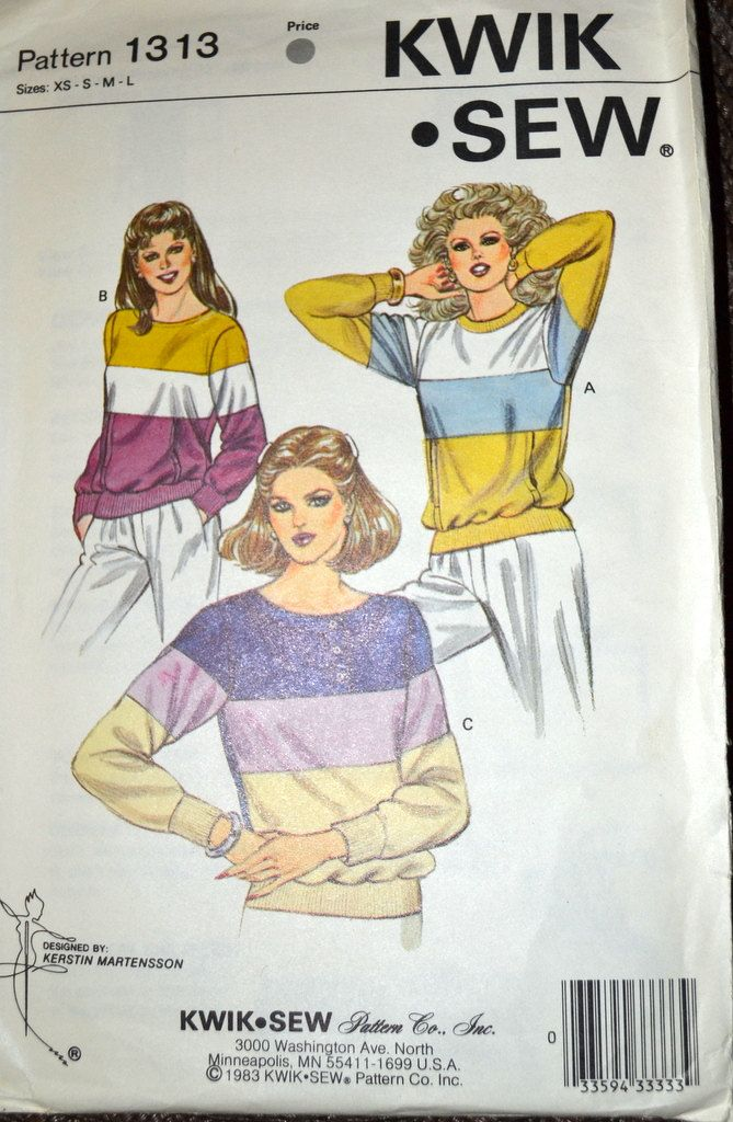 Sewing Pattern Kwik Sew 1313 Misses' Sweatshirts Size XS-XL Bust 31-45  inches Uncut Complete by GoofingOffSewing on Etsy