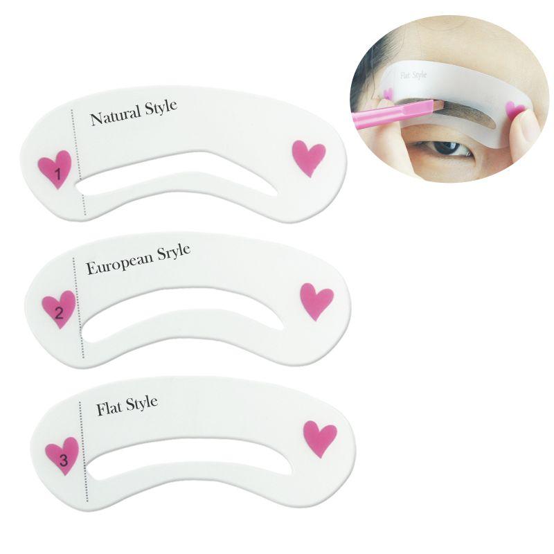 3 pcs/set Grooming Membentuk Kartu Alis Make-Up Stencil Template ...
