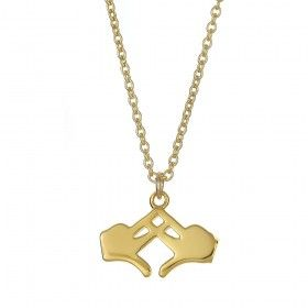 Alpha Chi Omega Sterling Silve Hand Pendant with 18kt Gold Plate
