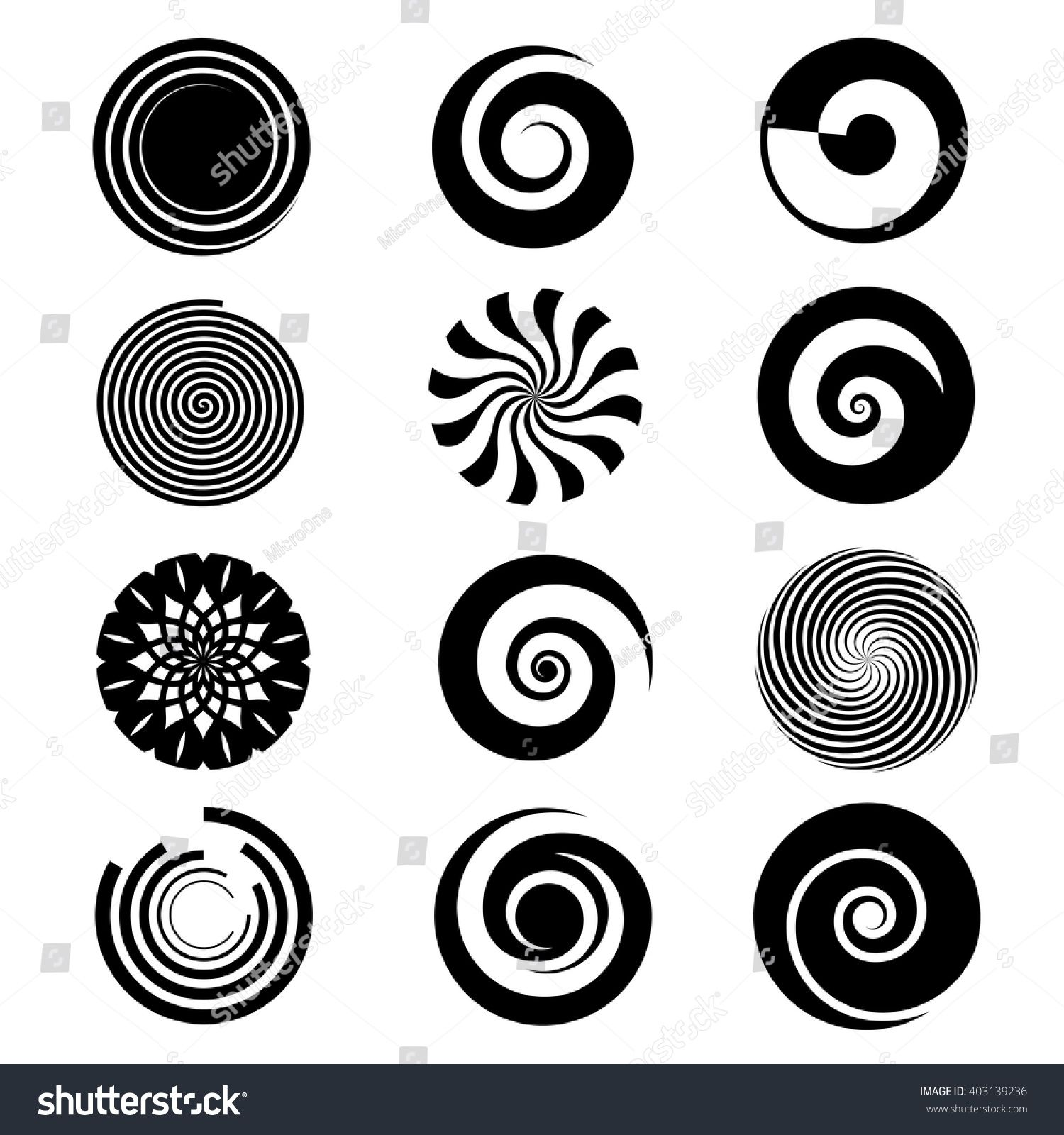 Spiral elements vector. Different spirals icons for logo
