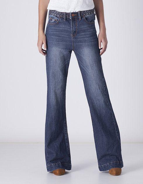 Jeans campana cintura trenzada