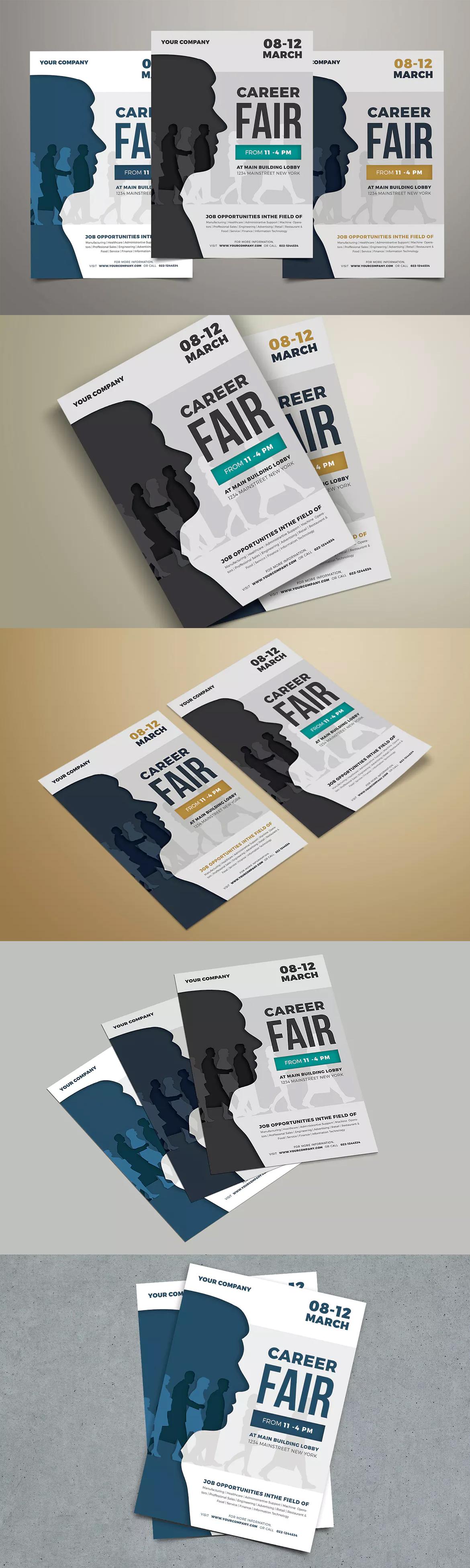 Graphic Design Inspiration · Job Fair Event Flyer Template PSD A4