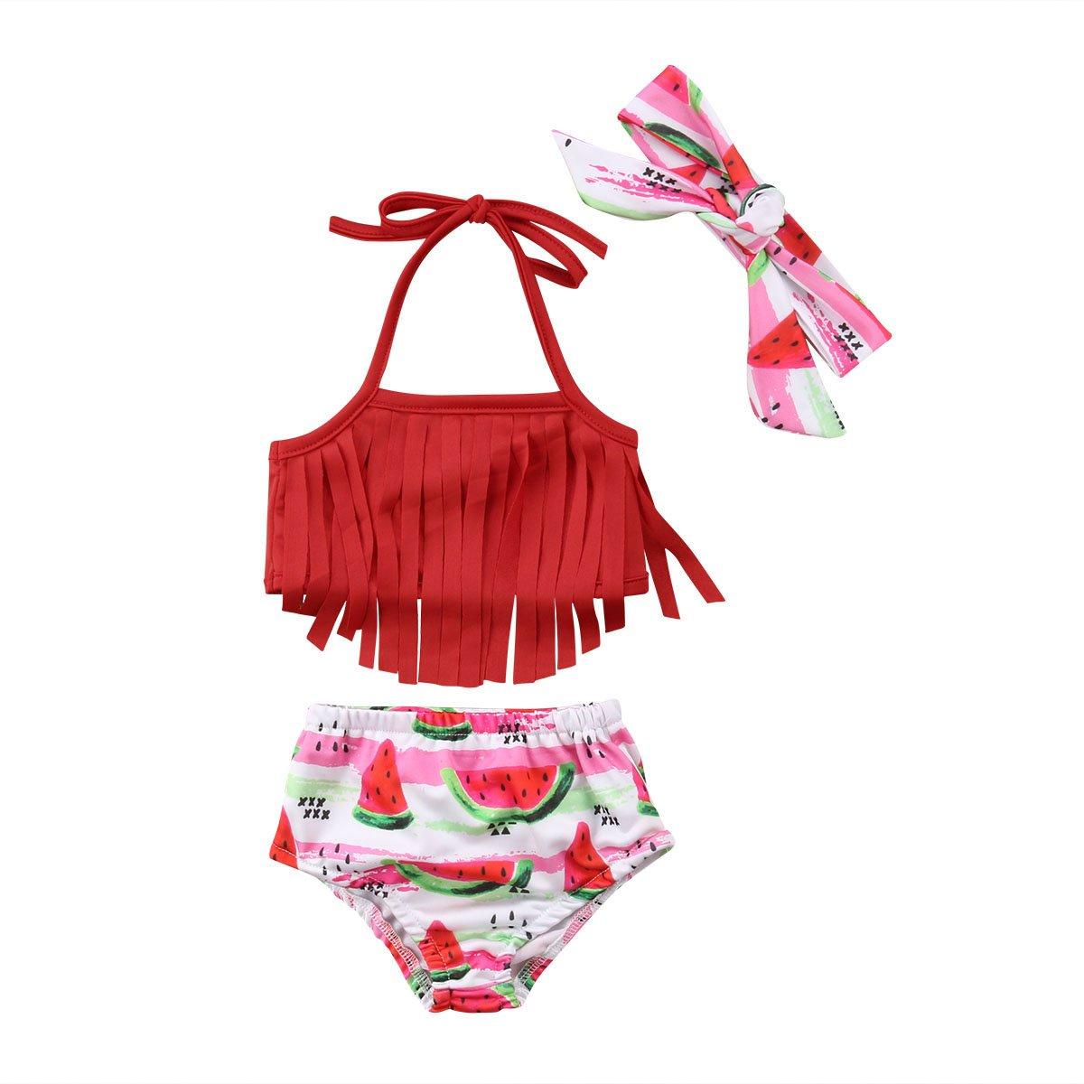ea9b4b837b51 Toddler Kid Baby Girls Swimsuit Bikini Set Tassel Swimming Tops Fruit  Watermelon Shorts Girl Headband Swimwear Bathing Suit – Beal | Daily Deals  For Moms
