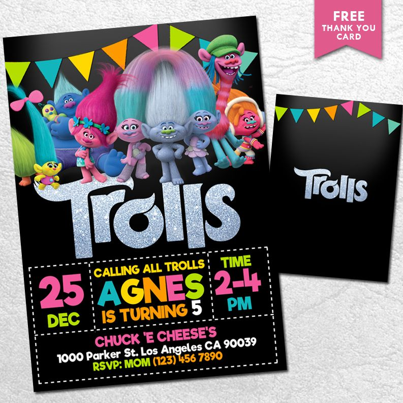 Printable Trolls Invitation Download | Trolls birthday party ...