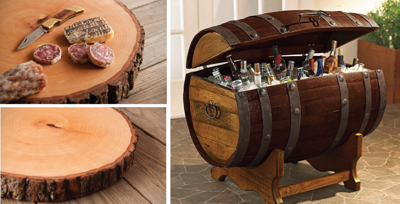 Love this cutting board and wine cooler for The Man Cave!