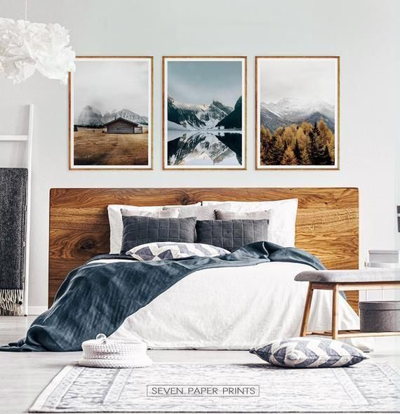 Set Of 3 Mountain Landscape Snowy Mountain Print Mountain Etsy