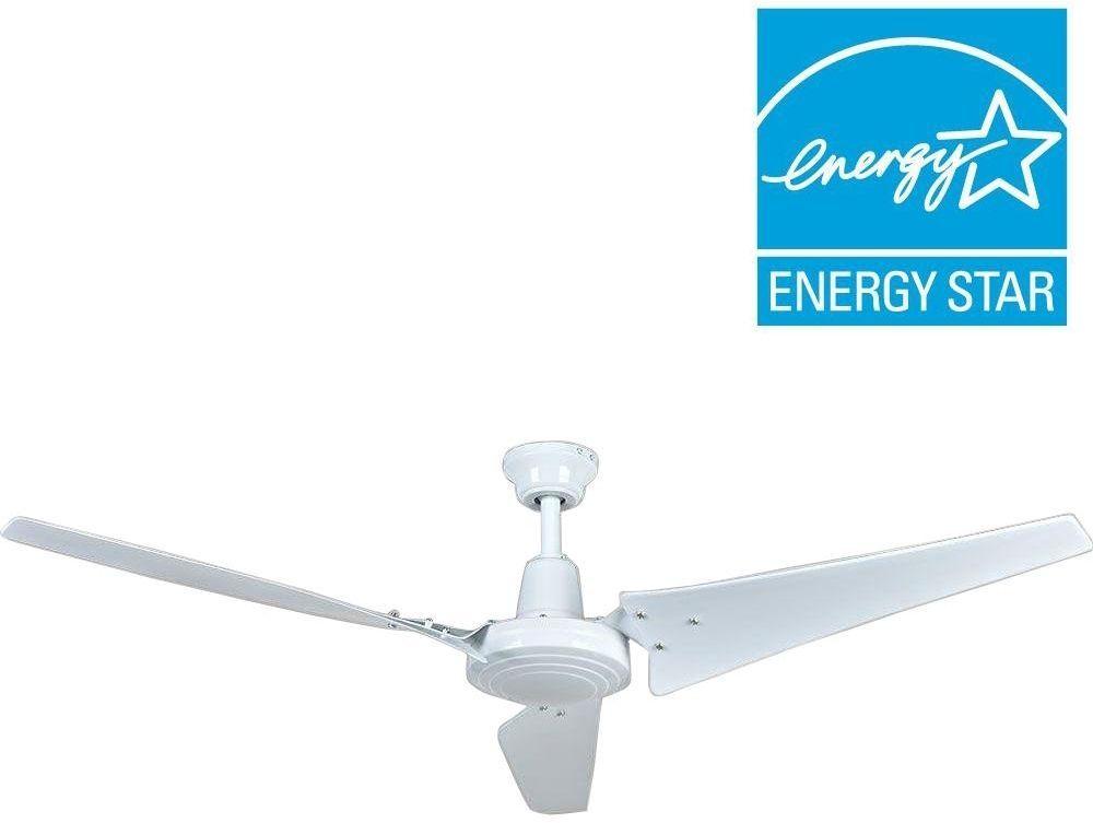 Hampton Bay Industrial Commercial 60 In 4 Speed Steel White Indoor Ceiling Fan Hamptonbay Contemporary Ceiling Fan Hampton Bay Ceiling Fan Industrial Fan