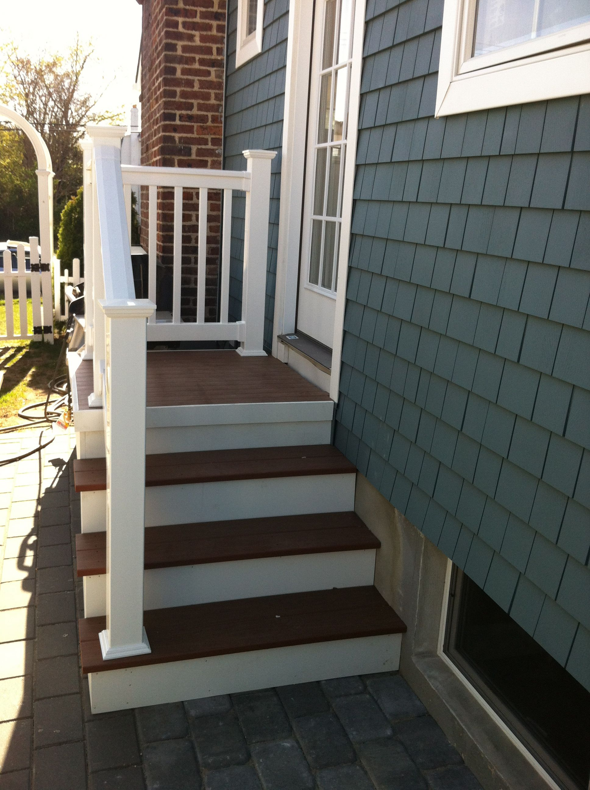 Outdoor Steps With Railing Side Entrance Backdoor Backyard Nj | Patio With Stairs From House | Residential | Curved Paver | Main Entrance Stamped Concrete Front | Walkout Basement | Decorative