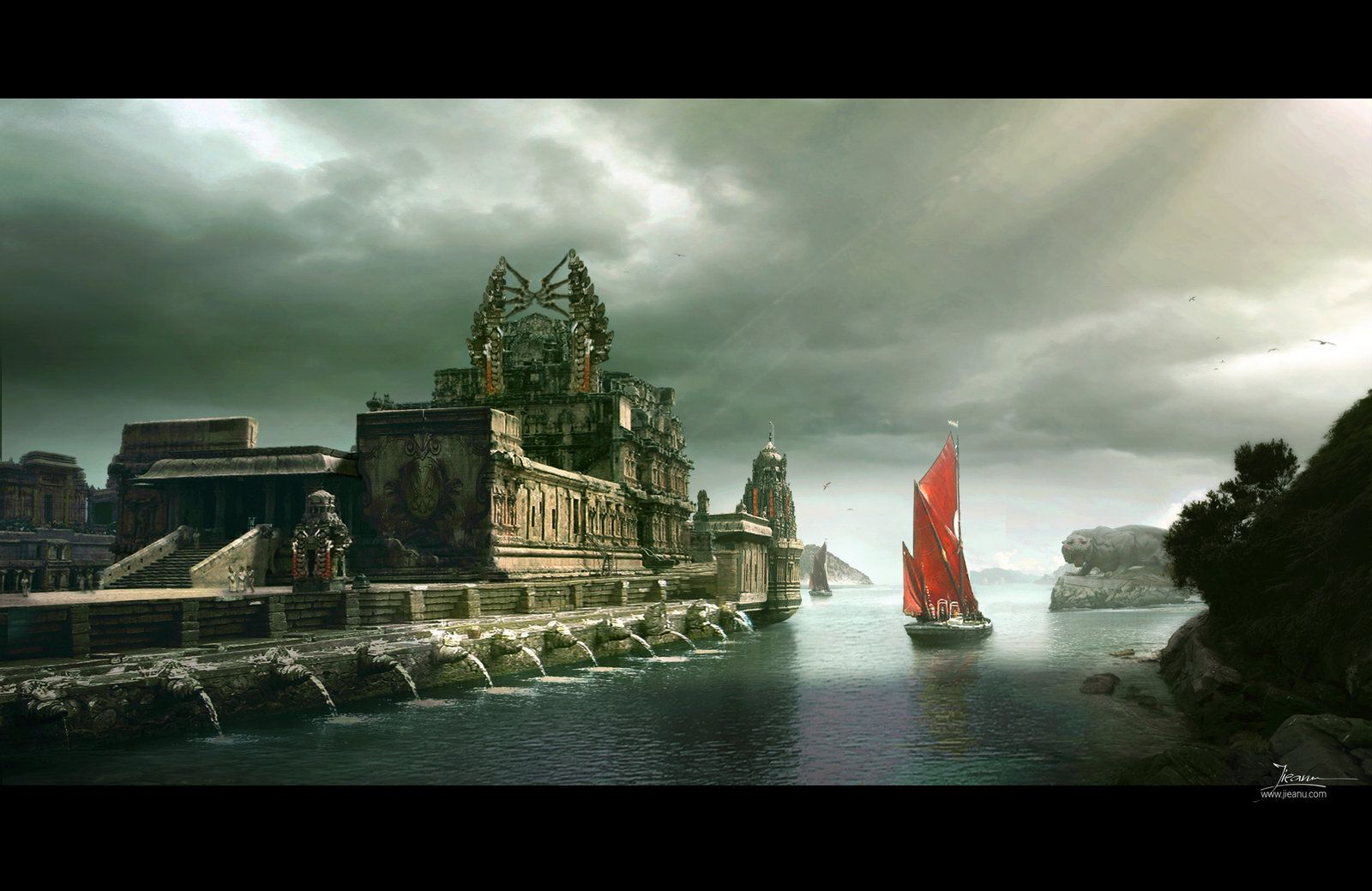 Red Boat, Dragos Jieanu on ArtStation at http://www.artstation.com/artwork/red-boat