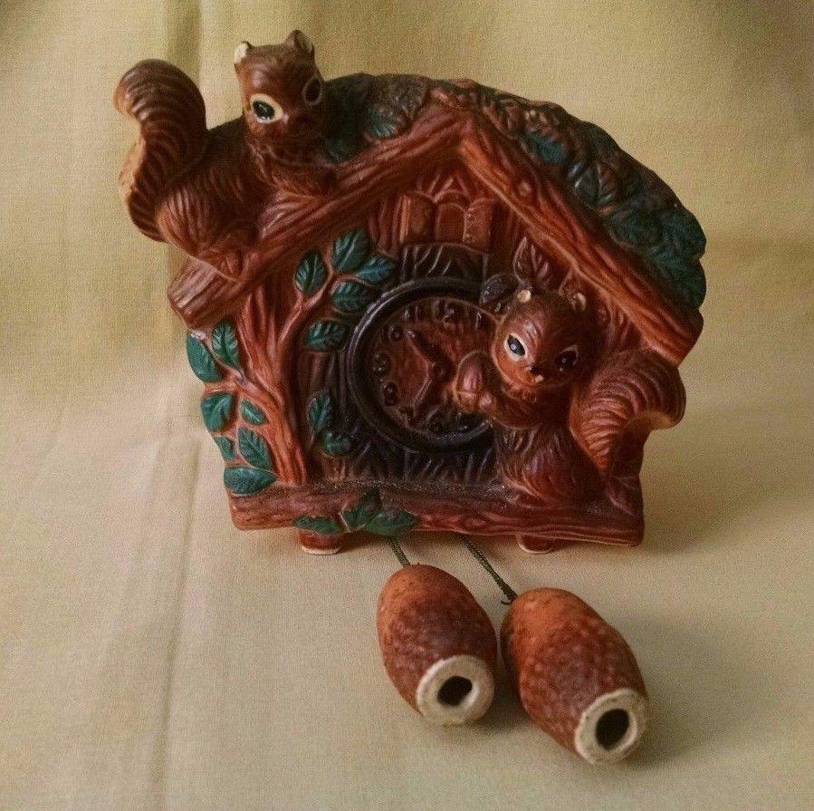 Cuckoo Clock Wall Pocket Squirrel Vintage Planter Acorn
