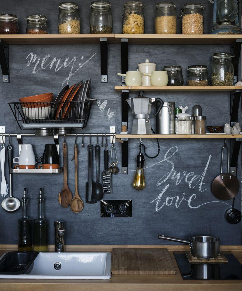 Küche Küchenwand Gestaltung Tafelwand Tafelfarbe