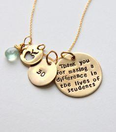 Teacher Necklace  Nurse Retirement Gift  by whiteliliedesigns