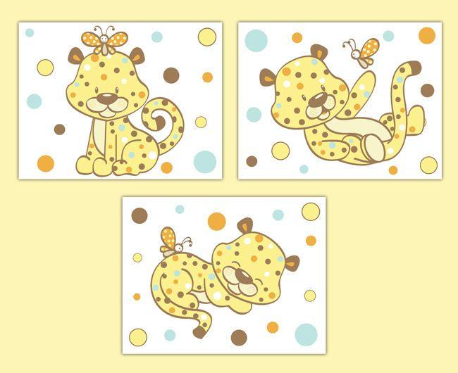 Safari Nursery Prints Cheetah Wall Art Gender Neutral Jungle Animals ...