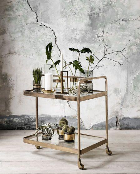 Beistelltisch Trolley One Size - Barwagen Gold mit Pflanzen #vintage #living
