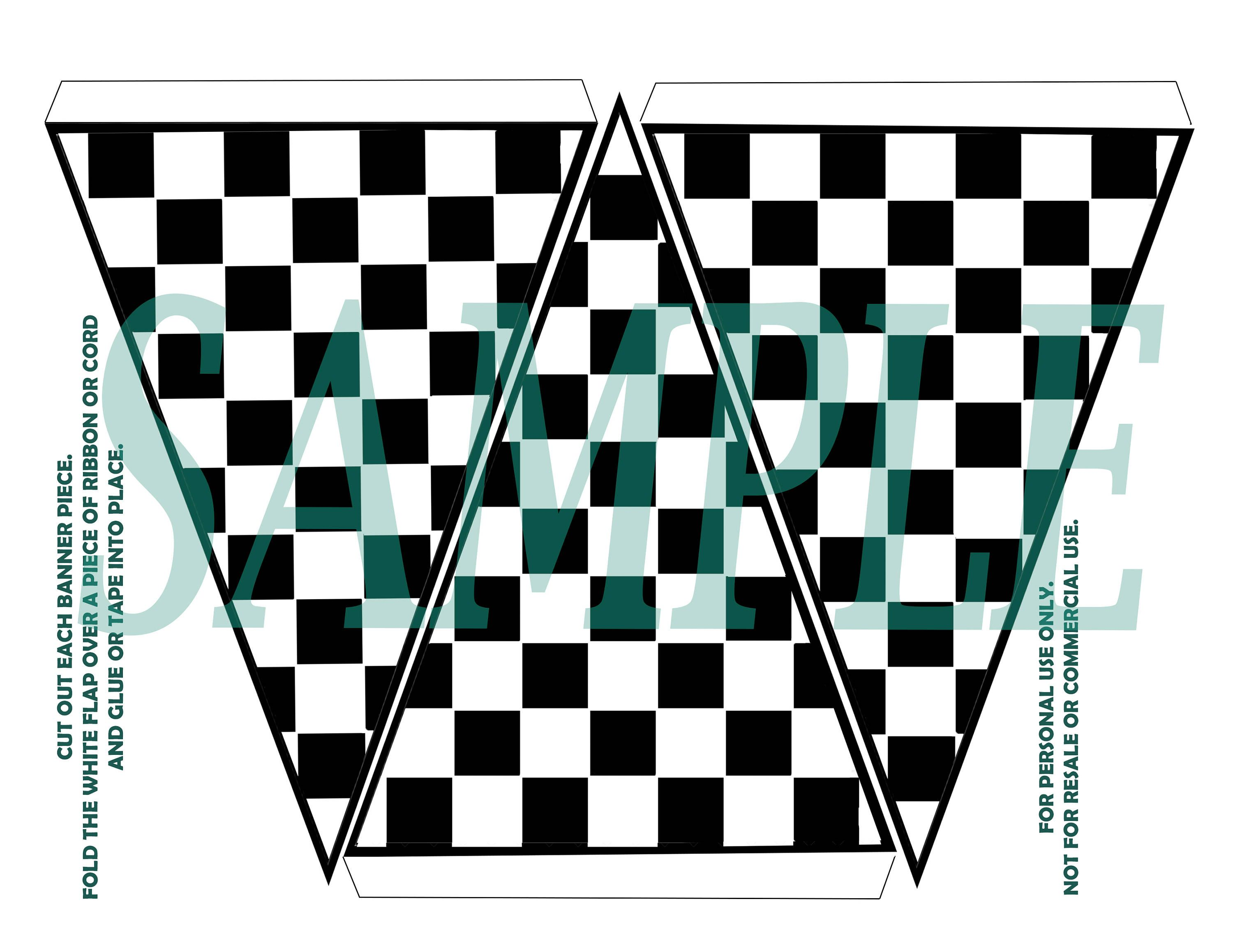 Checkered Flag Banner Birthday Party Printable Download Car Themed Parties Flag Banners Themed Party Supplies