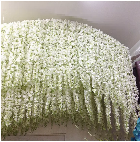 White Green Artificial Flowers Simulation Wisteria Vine Wedding Decorations Long Silk Plant Bouquet Door Hanging Flowers Unique Wedding Decor Wisteria Wedding