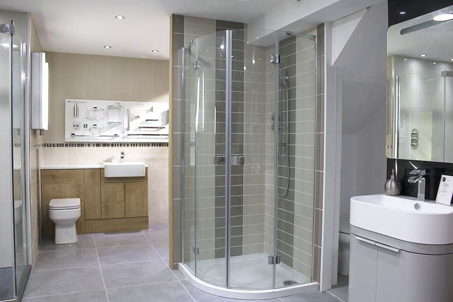 Large Curved Quadrant Shower Enclosure And Designer Bathroom