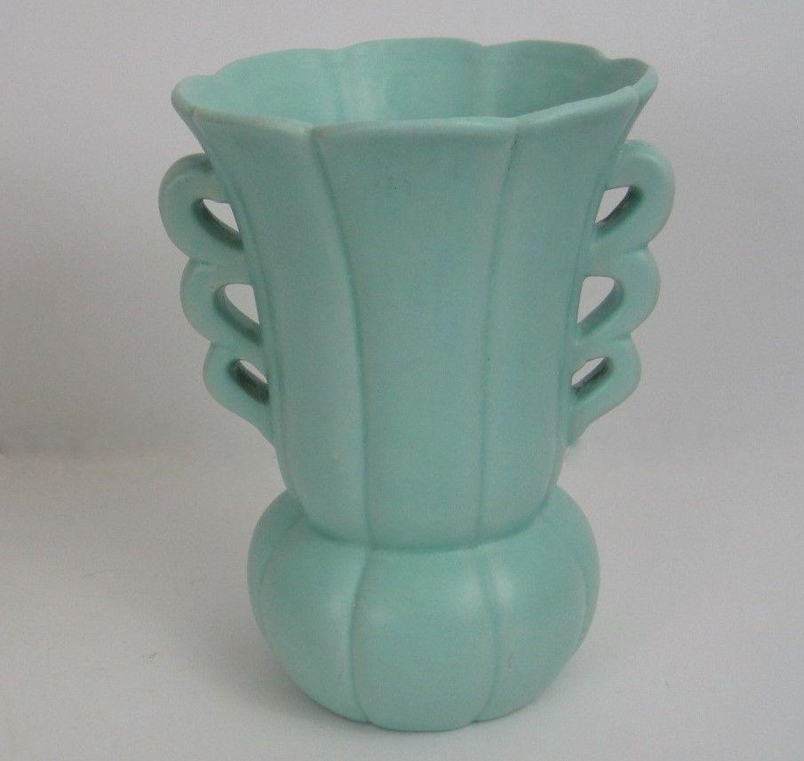 Early Haeger Vase Matte Green Blue Rare Handle Urn Bottom Seam