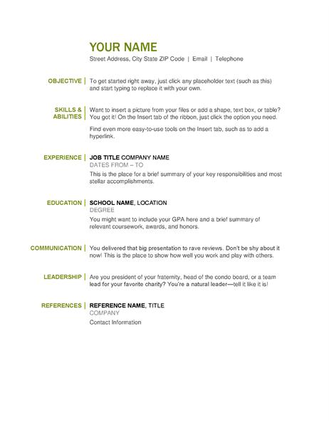 Basic Resume Basic Resume Simple Resume Template Job Resume Template
