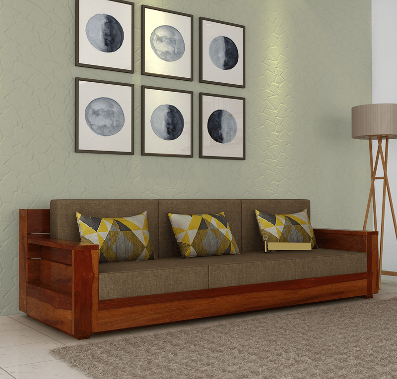 The Anadry 3 Seater Wooden Sofa Has A Chic Design To Enhance The