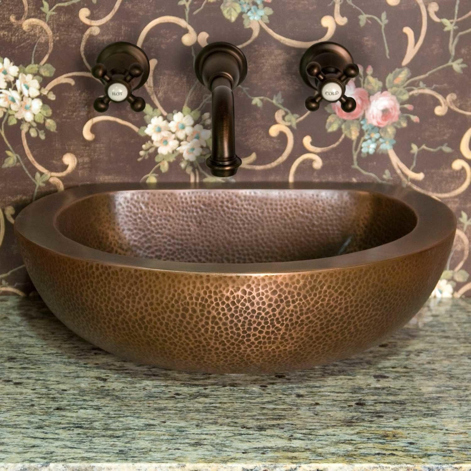 Brienna Double Wall Hammered Copper Vessel Sink